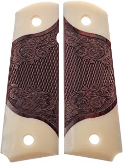 Premium Gun Grips 1911 Colt Full Size Double Diamond Checkered Rosewood Grips w/Faux Accents