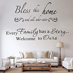 3 Sheets Wall Decals Inspiring Wall Quotes Stickers Warm Wall Decor Decal for Living Room Bedroom Decoration (Story, Love and Bless)