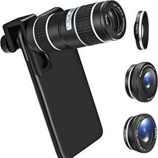 Phone Camera Lens Kit, TECHO 5 in 1 Cell Phone Lenses - 12X Zoom Telephoto Lens + Wide Angle Lens + Fisheye Lens + Macro Lens + Monocular Telescope Compatible with iPhone, Android, Samsung Smartphones