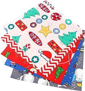 HEALLILY 5 Folhas de Tecido de Algodão de Natal Feixes de Tecido de Natal Impresso Artesanal Feixes de Patchwork Diy Natal...