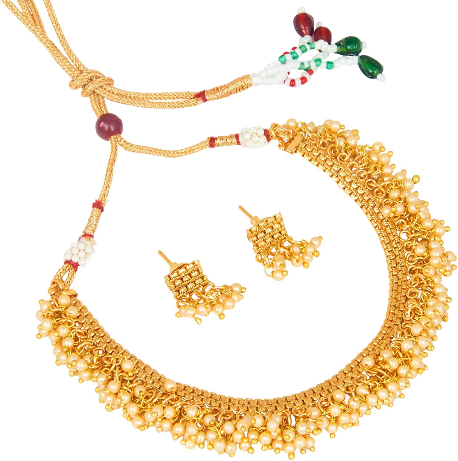 Bodha Traditional Indian Temple Gold Jewelry Necklace Set 22K with Earrings for Women & Girls (SJ_2683)