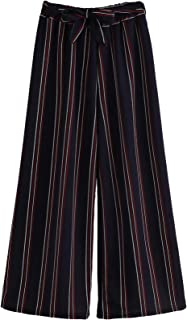 Milumia Women Work Wide Leg Striped Palazzo Fall Office Pants