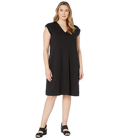Eileen Fisher Plus Size V-Neck Dress (Black) Women