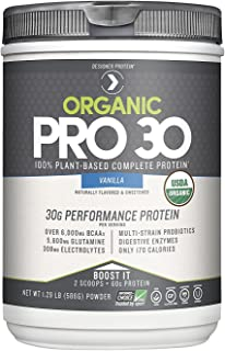 Designer Protein Organic Pro 30, Vanilla, 1.29 Lb, 100% Plant Based Protein Powder, Made in the USA