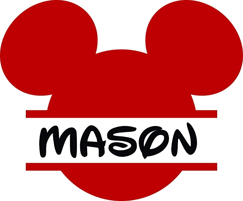 Personalized Girls Boys Name Signs Name Wall Decal Monogram Sticker Mickey Mouse Decal Cartoon Name Decal 20x20 Inches