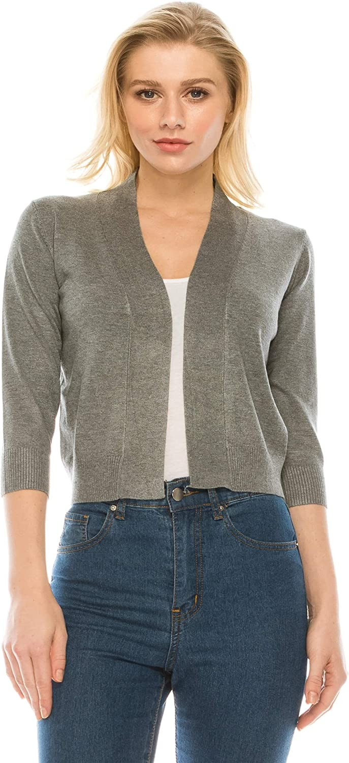 YourStyle USA Women's Cardigan Sweater – Classic 3/4 Sleeve Cropped Open Front Ribbed Knit Bolero