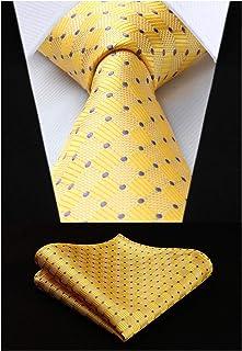 HISDERN Check Wedding Plaid Tie Handkerchief Men's Necktie Pocket Square Set For Formal Business