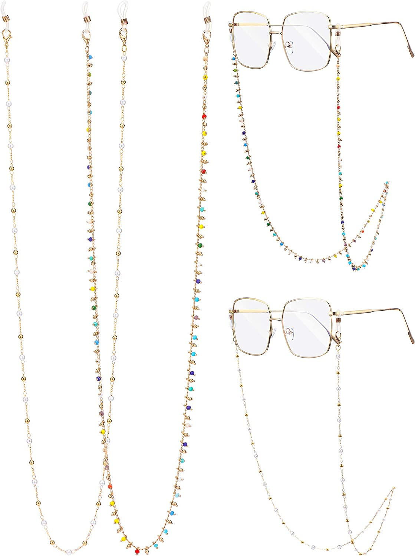 2 Pieces Eyeglass ChainsSunglasses Eyewear Strap Holder Read
