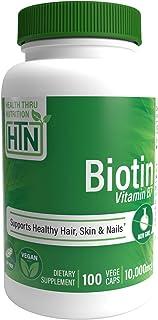 Biotina 10.000 mcg 100 cápsulas vegetarianas por Health Thru Nutrition - Sin OMG. sin alérgenos. sin gluten (100)