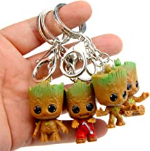 sunliveus Cute Baby Groot Keychain 4 Pack Anime Guardians of The Galaxy Q Version Treant Grote Miniature Key Chain Groot Pendant Key Ring Holder Best Toy Gifts for Women Couple Children Festival