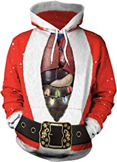 Unisex 3D Ugly Christmas Pattern Pullover Novelty Hoodies Sweatshirt Outwear
