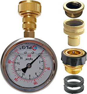 PLG Quick Connect/Disconnect Water Pressure Gauge Kit,2 in.Gauge w/Oil, 0 psi 230 psi,Push-Lock 3/4