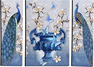 MAHAGAURI ART & SIGN Wall Mounted Decorative Rectangular Printed Paintings for Living Room | Wall Hanging Peacock & Flower...