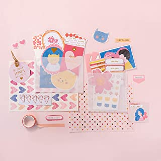Doraking Cute Love Theme Decorative Scrapbook Material Pack for Scrapbook Decoration with 5 Metallic Bookmark Paper Clips,...