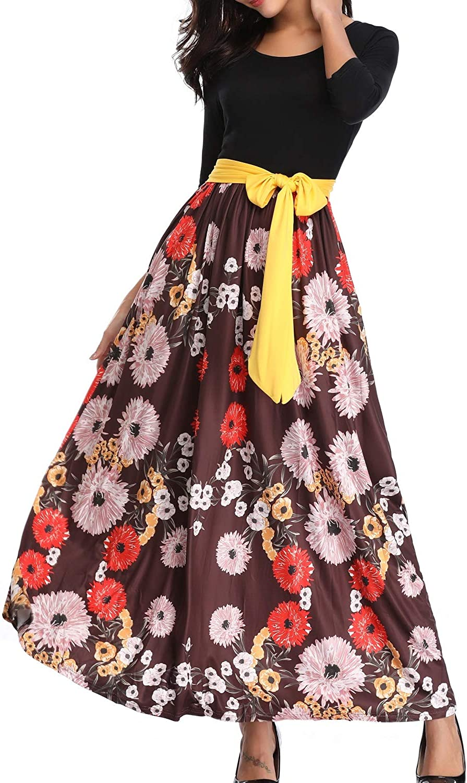 Kyrakiss Women's Striped Floral Print 3 4 Sleeve Tie Waist Maxi Dress with Pockets (Black,Pink,Red,Coffee,S M L XL 2XL)
