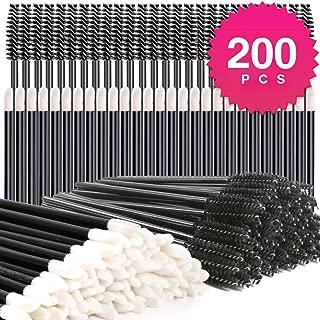 Disposable Makeup Applicators, Teenitor 100Pcs Lipstick Applicator Wands& 100Pcs Eyelash Mascara Wands Lip Gloss Lipstick Tester Eye Lash Brush