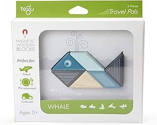 Tegu Travel Pal Magnetic Wooden Block Set, Whale, 6 Piece