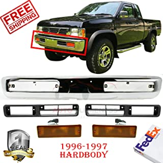 Front Bumper Chrome Steel For 1996-1997 Nissan Pickup Fog Lights Molding & Signal Lamps Left Hand & Right Hand Side Direct Replacement Set Of 5 NI1038101 NI1039101 NI2520108 NI2521108 NI1002127