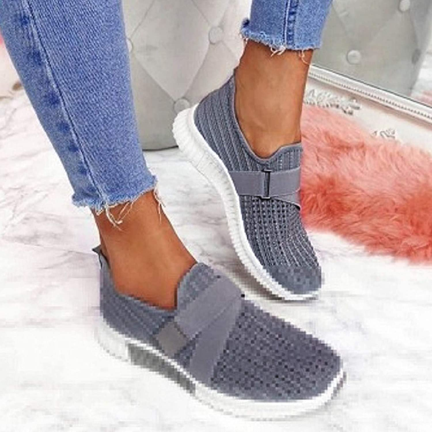 ZYAPCNGN Womens Sneaker Casual Runing Sport Shoes Mesh Breathable Slip On Comfortable Lightweight Walking Shoes