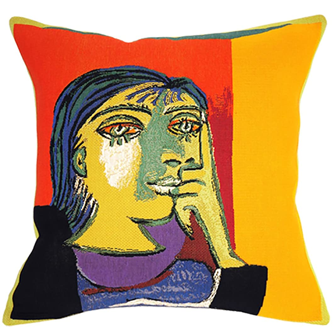 Jules Pansu - Premium European Throw Pillow Cases in Jacquard Weave - Picasso Portrait of Dora Maar (1937) - 18 x 18 Inches - 95% Cotton 5% Polyester - Invisible Zipper Opening - Made in France x075913451