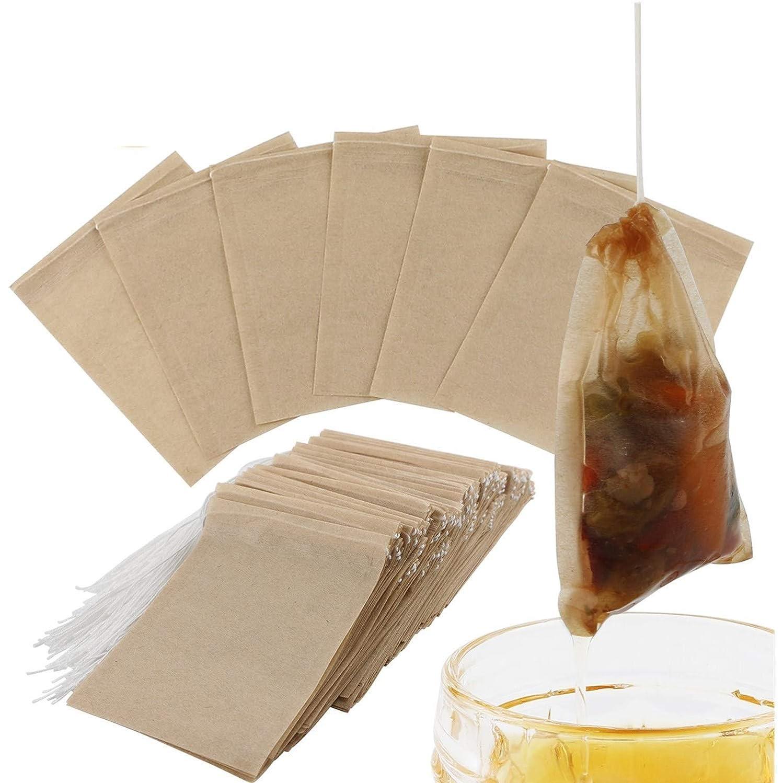 パワーセル大量多様なお茶バッグ 300枚入り フィルター濾紙 ティーバッグ 使い捨て 巾着付き 安全な強力な浸透無漂白紙 天然 ルースリーフティー&コーヒー用 (ビッグ)
