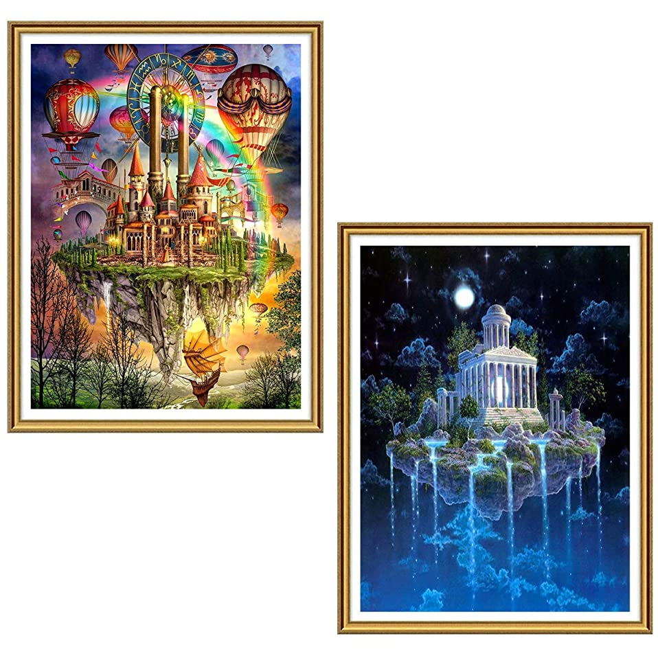 Ginfonr 5D DIY Diamond Painting Castle in The Air Full Drill by Number Kits for Adults, Ivory Tower Paint with Diamonds Art Hanging Garden Crystal Cross Stitch Wall Decor (12 x 16 inch, 2 Pack)