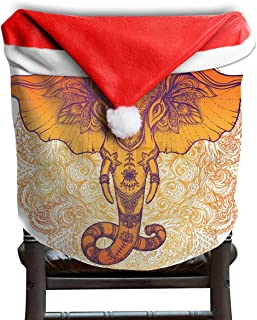 Christmas Santa Claus Chair Back Cover Beautiful Hand-drawn Tribal Style Elephant Over Mandala Xmas Red Hat Cat Chairs Slipcovers for Kitchen Dinner Table Party Home Decor Room Holiday Festive 1 Piece