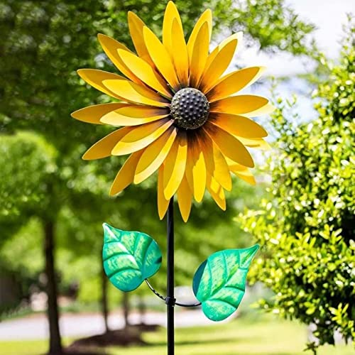 RiamxwR Metal Flower Garden Stakes Kinetic Wind Spinner Outdoor Decorative Plant Sunflower Stake Lawn & Yard Ornaments, 29In Metal Yard Art Garden Stakes Decor Ornament, SegkopuoL