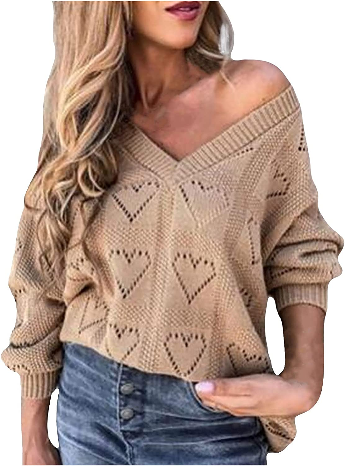UOFOCO Plus Size Sweaters for Women Long Sleeve Tops Hollow V-Neck Casual Pullover Blouse Solid Color Knitted Sweater