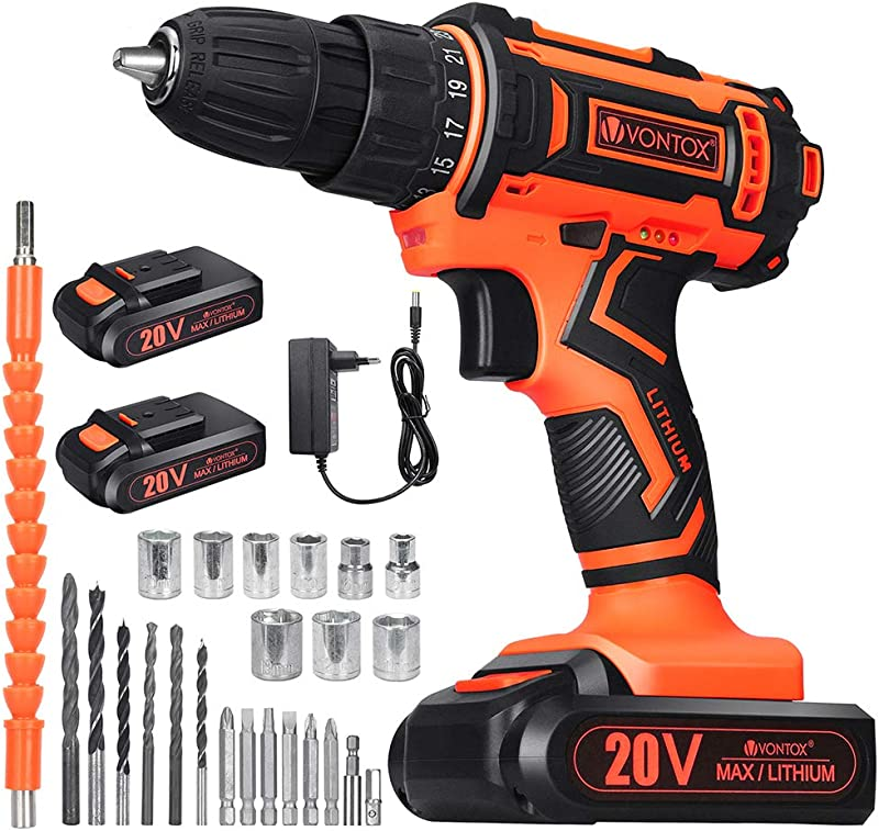 V VONTOX Cordless Drill 20V Power Drill 42N M 2x2000mAh Batteries 1H Fast Charger 3 8 Inch Chuck 2 Variable Speed 18 1Torque Setting With 24pcs Drill Bits Set