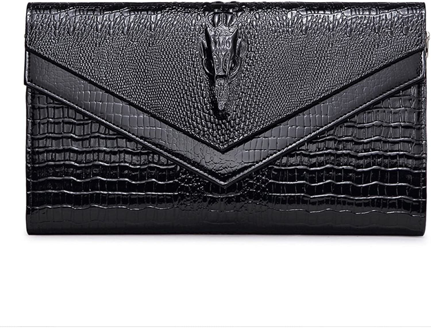 Ladies Cross Section Square Crocodile Pattern Single Shoulder Messenger Wallet Double hit color Holding Evening Bag SLR