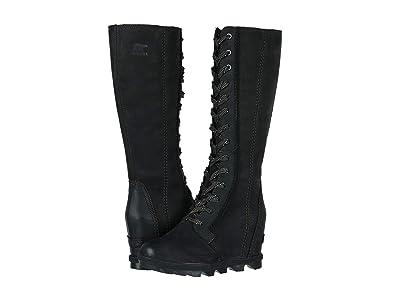 SOREL Joan of Arctictm Wedge II Tall (Black Full Grain Leather/Nubuck Combo) Women