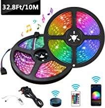 Gluckluz LED Strip Light Smart WiFi 10M 32.8ft Color Changing Rope Lights 5050 RGB Light Waterproof Tape with Remote Music Apply for Home Kitchen Decoration