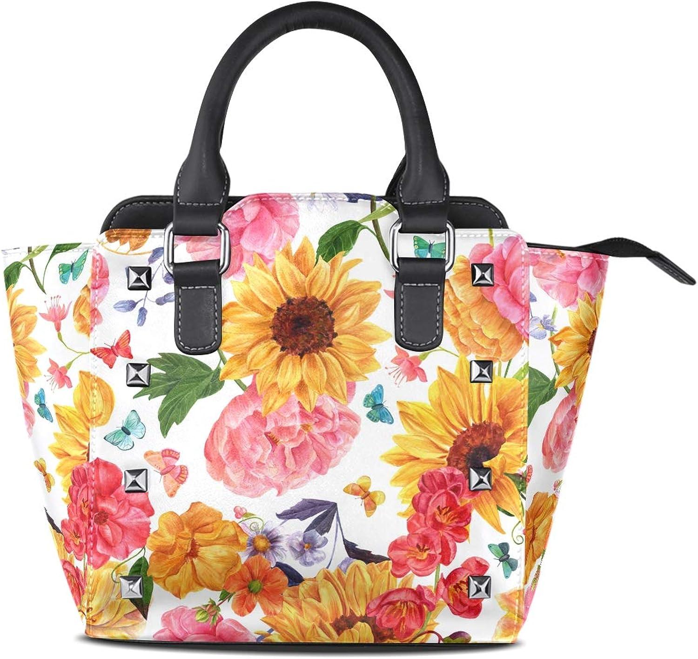 My Little Nest Women's Top Handle Satchel Handbag Sunflowers Peonies Butterflies Ladies PU Leather Shoulder Bag Crossbody Bag