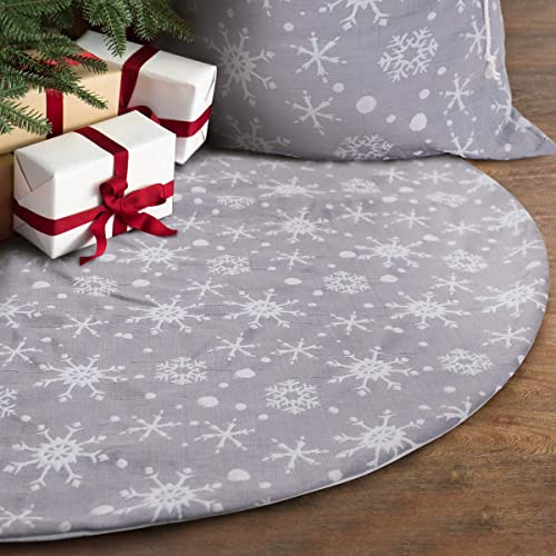 S-DEAL 32 Inches Christmas Tree Skirt Double Layers Grey and White Snow Carpet for Party Holiday Decorations Xmas Orn...