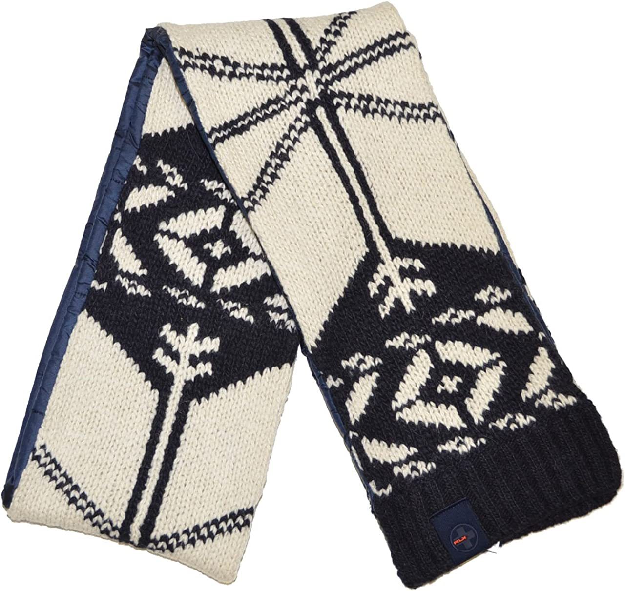 RLX by Ralph Lauren Men Fashion Winter Scarf (One size, Off white/navy)