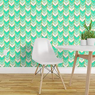 Spoonflower Peel and Stick Removable Wallpaper, Chevron Herringbone Arrows Ombre Gold Gilded Print, Self-Adhesive Wallpaper 24in x 36in Roll