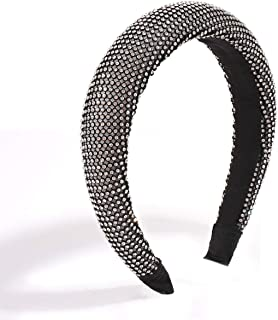 Boderier Rhinestone Bejewelled Padded Headband Celebrity Ladies Hair Accessories Velvet Hair Band Headpiece (Black)