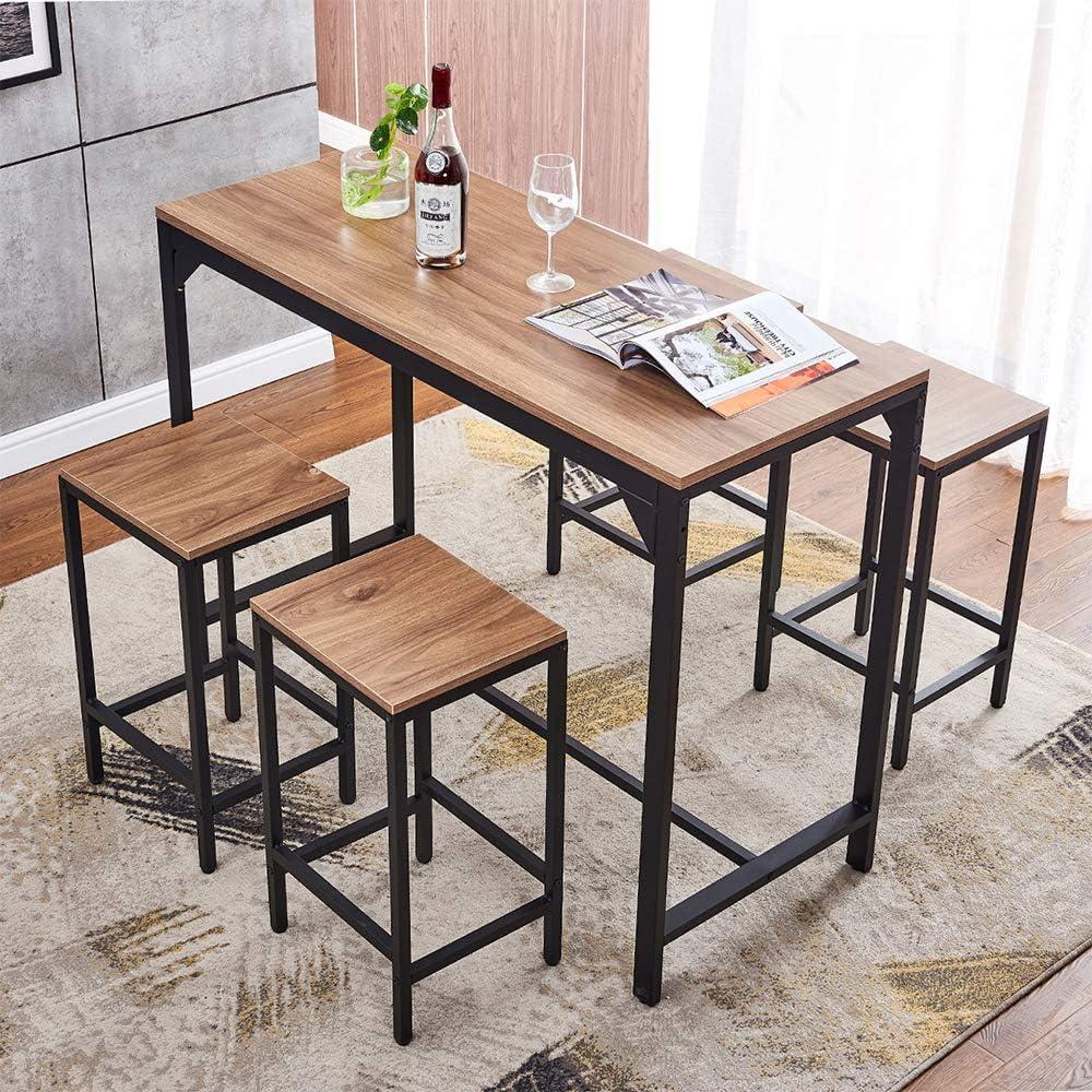 Buy Ansley&HosHo Bar Table with 9 Stools Set Home Bar Set Kitchen ...