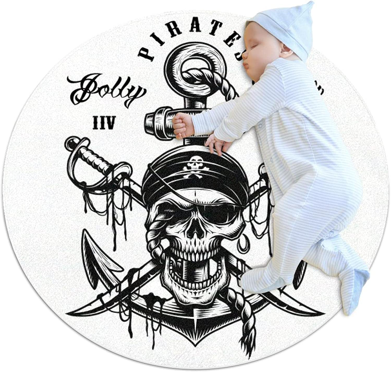 Pirate Skulls Max 52% OFF Kids Nursery Rug Play Tod Mat List price Carpet Round Design