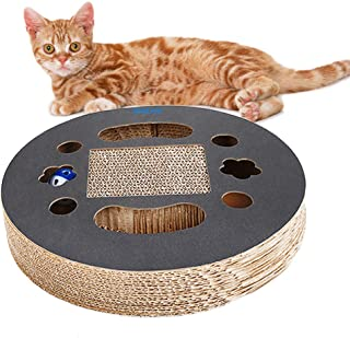 WishLotus Cat Scratching Board with Built-in Round Bell Ball Pet Cats Toys Intelligent&Entertainment,Made of Corrugated Paper
