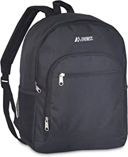 Everest Casual Backpack with Side Mesh Pocket, Black, One Size