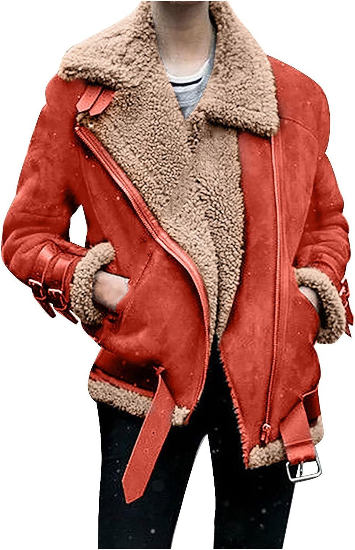 NBXNZWF Womens Faux Fleece Coat Winter Plus Size Coat Fashion Outwear Thick Warm Lapel Biker Motor Sports Jacket