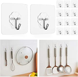Wall Hook Stick On Adhesive Hooks 18KG Permanent Suction Stainless Steel Heavy Duty Reusable Hanger Kitchen Bathroom Hook...