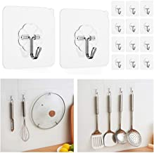 Wall Hook Stick On Adhesive Hooks 18KG Permanent Suction Stainless Steel Heavy Duty Reusable Hanger Kitchen Bathroom Hooks...