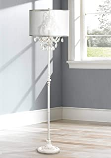 Ciara Shabby Chic Floor Lamp Antique White Chandelier Style Crystal Sheer Organza Drum Shade for Living Room Reading Bedroom - Regency Hill