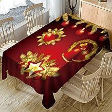 Kerst Rechthoekig Tafelkleed - Modieuze Kerst Patroon Afdrukken Rechthoekig Tafelkleed Woondecoratie Elegant Hotel Cafe Va...