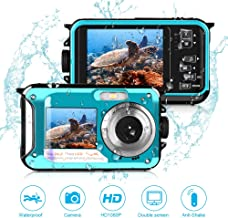 Waterproof Camera Full HD 1080P,Underwater Digital Camera 24.0MP for Snorkeling 2.7 Inch TFT-LCD Video Recorder Camera-Dual Screen Selfie Camera (Blue)