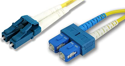 Lynn Electronics LCSCDUPSM-3M 9/125 Yellow Duplex Single-Mode Fiber Optic Patch Cable, LC-SC, 3 Meters in Length Yellow