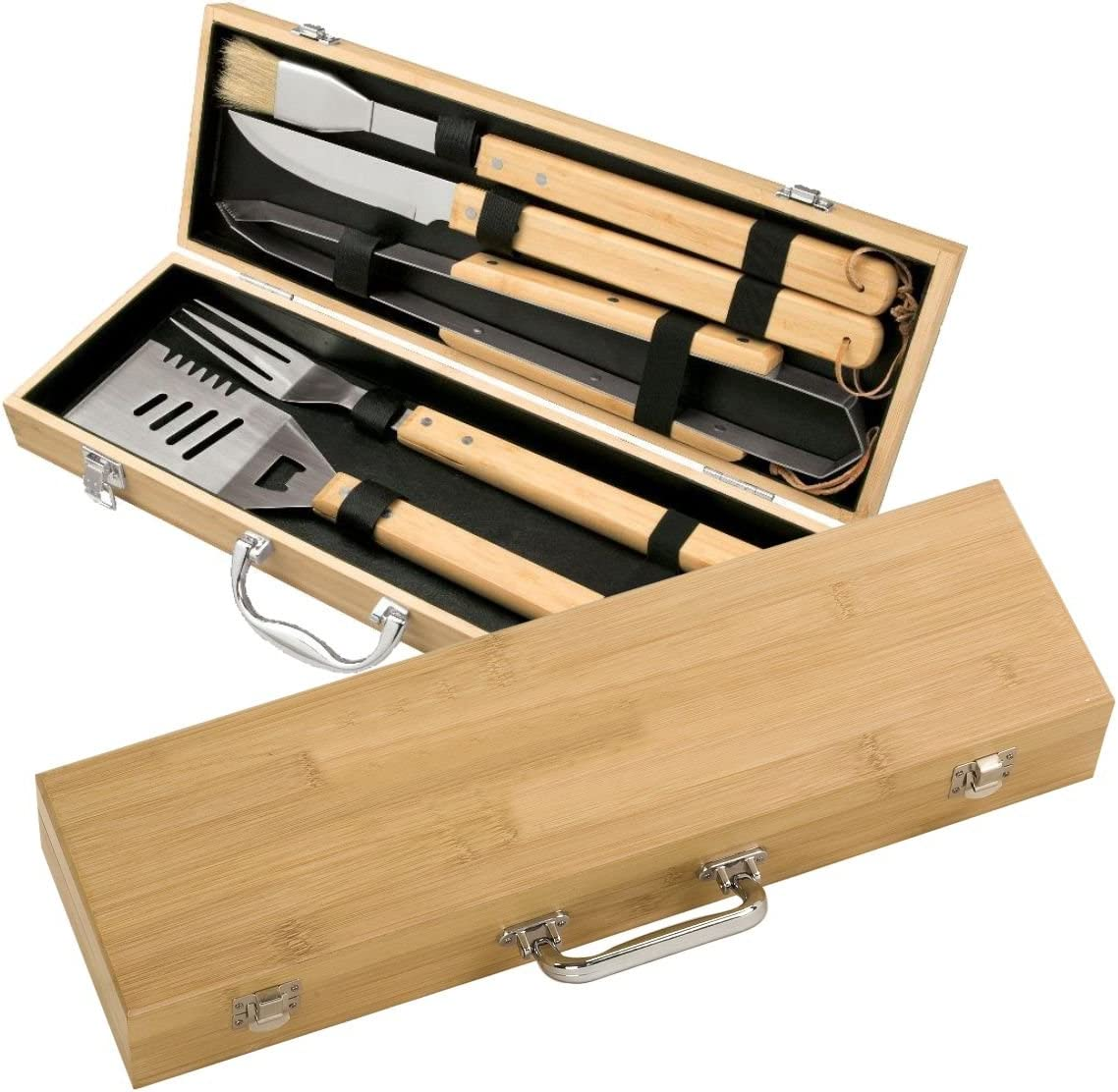 5-Piece Cheap super special price Bamboo BBQ Set by A Design-Barbecue Lazer Special price for a limited time Tool Grill